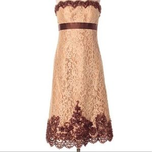 Badgley Mischka Gold and Brown Lace Coaktail Dress